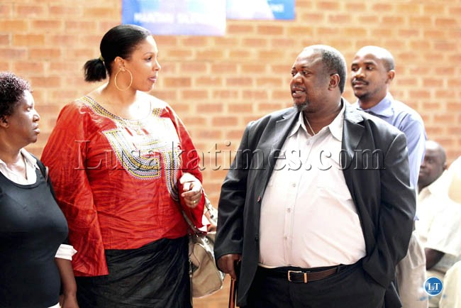 Former labour Minister Austin Liato with his wife and sympathysers at the Lusaka magistrate court