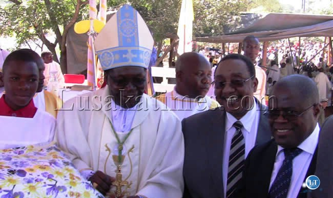 FILE: Defence Minister Geoffrey Mwamba, Energy Minister Christopher Yaluma (right) and  Kasama Archbishop Ignatius Chama second (left) at the ordination ceremony  at St. Johns Cathedral Catholic Church in Kasama.