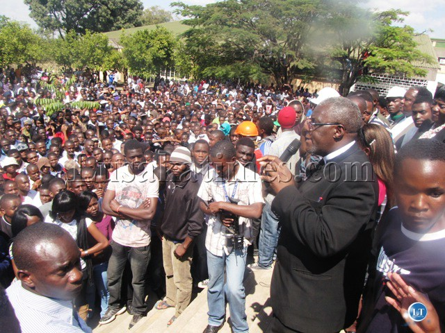 FILE: Students from the Copperbelt University protesting against management
