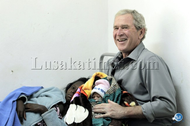 Former US president George Bush at Ngungu clinic in Kabwe where he visited patients
