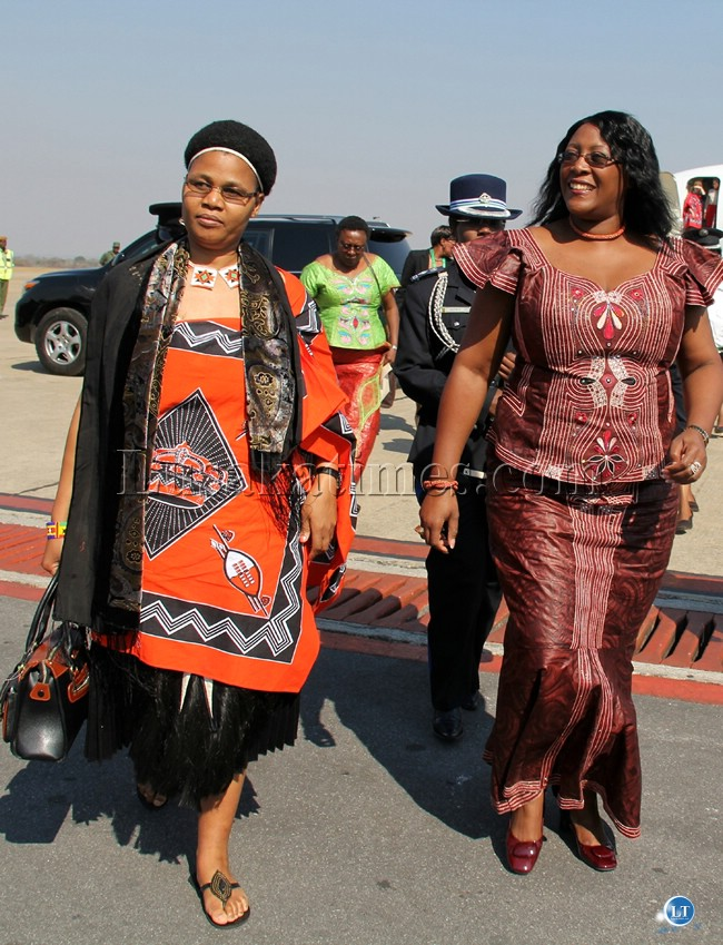 Swaziland Royal Highness Inkhosikati LaMatsebula with First Lady Dr Christine Kaseba