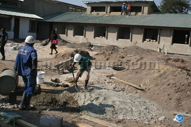 Works are progressing steadily at the Lewanika Eye Hospital in Mongu. Here, workers captured at the construction site