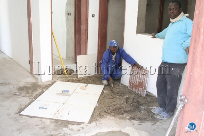 Works are progressing steadily at the Lewanika Hospital in Mongu. Here, workers captured at the construction site