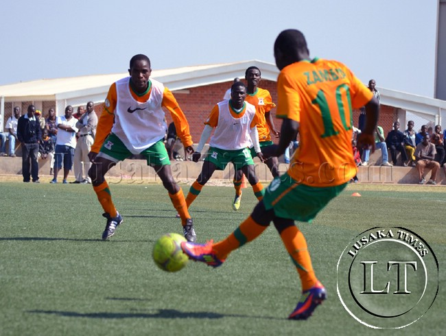 Zambia National Soccer team players in training at the Olympic Youth Development Centre in Lusaka in readiness for a friendly match against Malawi