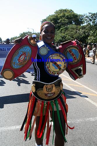 Female boxing sensation Esther Phiri shows of
