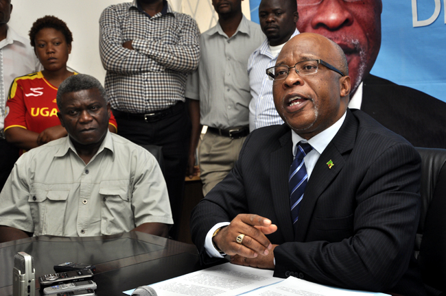 MMD president Dr Nevers Mumba speaking at a press briefing in Lusaka.