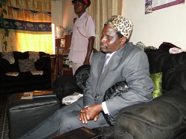 Senior Chief Nkula of the Bemba people at his old palace in Mpika today