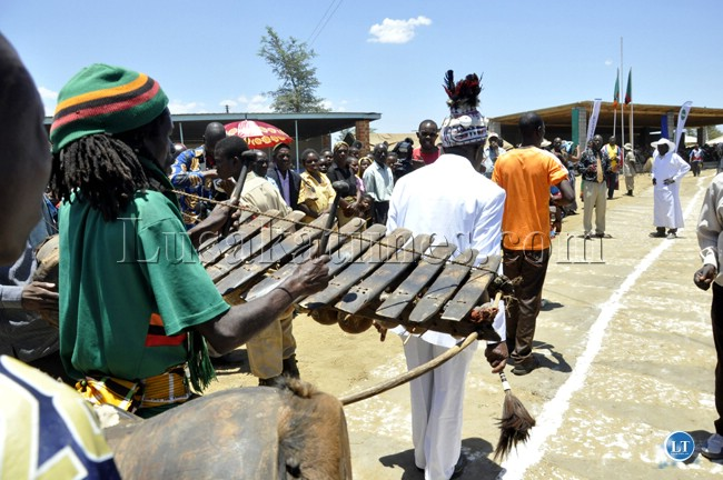 A Nkoya drummer in action during the Chakwela Makumbi traditional ceremony
