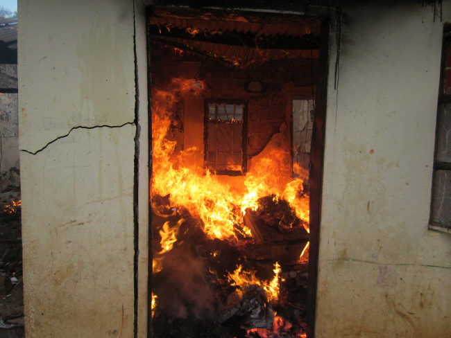One of the flat burning in Kabwe. Residents almost beat up men from the fire department for arriving at the scene without water
