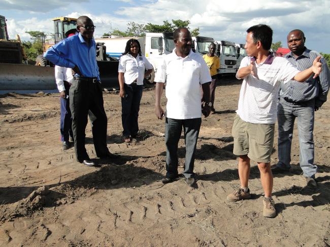 Muchinga provincial minister Charles Banda (l ) visiting the launch site in the company of his permanent secretary Charles Sipanje (second left) China China Jiangxi chief engineer Peng Xuan and other government officials to ensure that preparations for the launch are well done