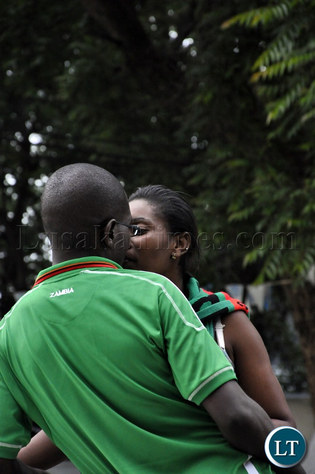 A couple romancing before the Zambia Bukina Faso game