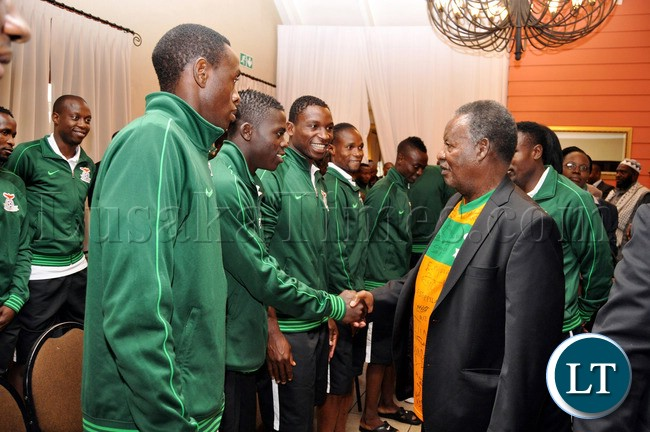 President Sata National Team players  at Protea Hotel Nelspruit in South Africa where President Sata addressed the National Team