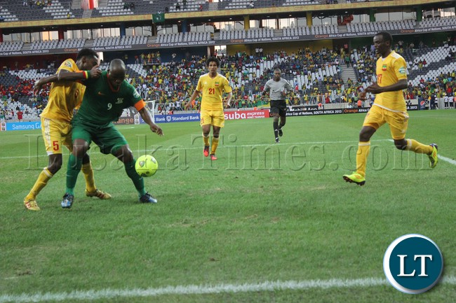 Mbesuma shields the ball against the Ethiopian Defender