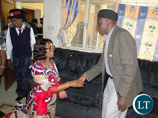 SENIOR Chief Mwamba (right) welcomes Tourism Minister Sylvia Masebo at his palace in Kasama