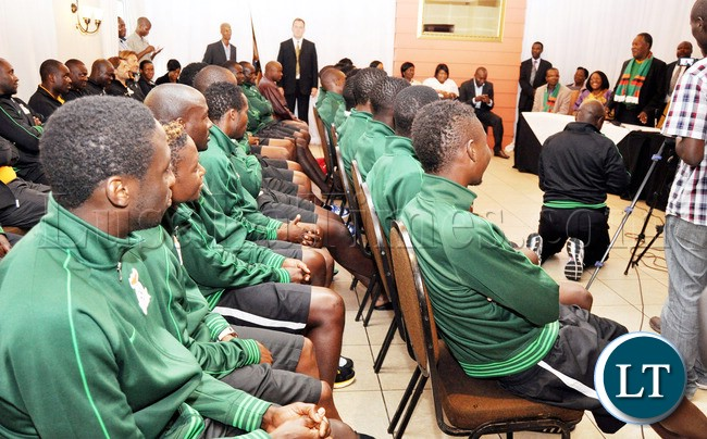 Ntional team Players Listening to President Sata at their training base