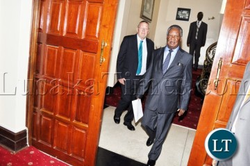 File:President Sata with Vice-President Dr Guy Scott on arrival  for the  closed door meeting with Chiefs from Muchinga Province at State House on March 25,2013 -Picture by THOMAS NSAMA