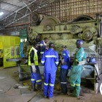 Workers at Nitrogen Chemicals of Zambia in Kafue manufacturing equipment parts in the fabrication workshop