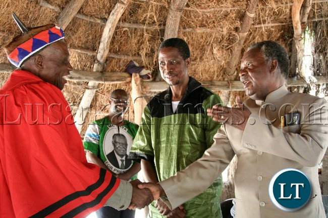 Chief Chipepo of Chipepo in Kapiri welcomes President Sata at his palace  during his campaign tour for the Kapiri by-elections in Kapiri, April 13, 2013.