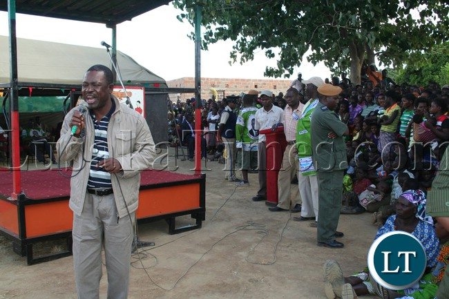 Wynter Kabimba address a rally in Kapiri Mposhi over the weekend