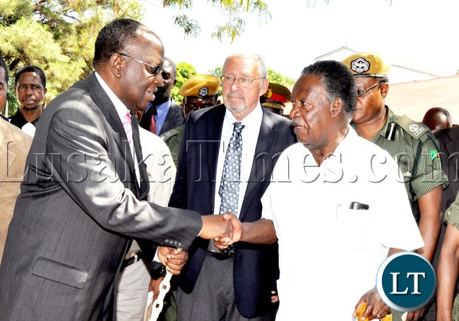 President Sata  with the Litunga and Vice-President Dr Guy Scott at Limulunga palace in Mongu where he  paid a courtesy call on him in Western province on April 14,2013-Picture by THOMAS NSAMA