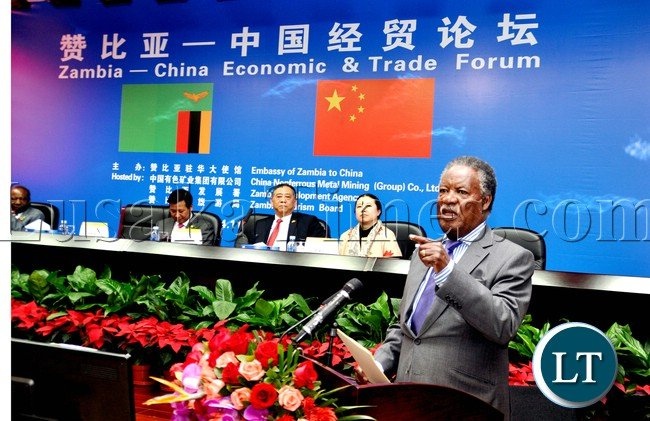President Sata addresses Chinese Investors at China Nonferrous Metal Mining (Group) Co . Ltd ( CNMC ) during the Zambia China Economic and Trade Forum on April 11,2013-Picture by THOMAS NSAMA