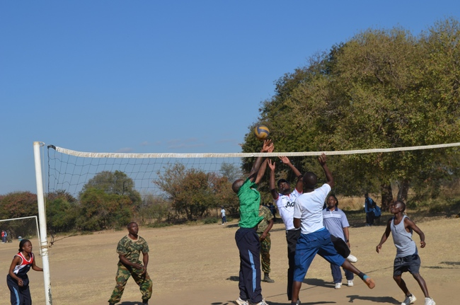 ZAF officers in Livingstone yesterday celebrated the defence day at David Livingstone College of Education (DALICE) through various sporting activities. Above, some ZAF officers playing volleyball at DALICE grounds