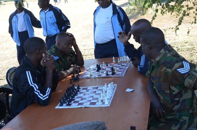 ZAF officers playing chess at DALICE grounds
