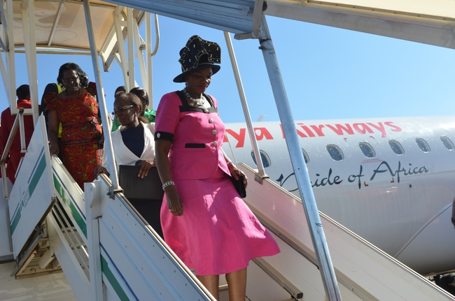 Tourism and Arts Minister Sylvia Masebo disembarking from Kenya Airways aircraft during the airline's inaugural direct flights on Nairobi-Livingstone route at Harry Mwaanga Nkumbula International Airport in Livingstone