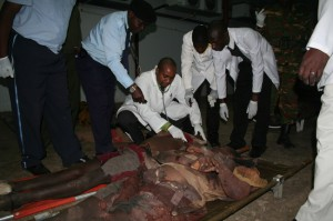 Doctors at Kabwe general hospital certifying the bodies of the Mailoni brothers at the mortuary