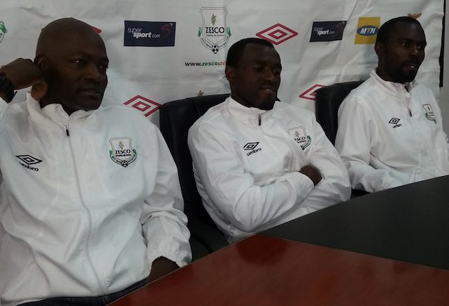 L to R: Zesco United coach Tenant Chembo, striker Winston Kalengo and midfielder Maybin Mwaba at the club's weekly press briefing ahead of their game against Nkana this Saturday in Ndola.