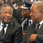 President Micheal Sata with Rupiah Banda during the Funeral service of the Late By Mwila .