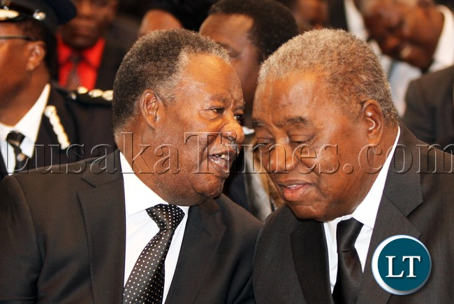 President Sata Chats with Rupiah Banda during the Church Service of BY Mwila
