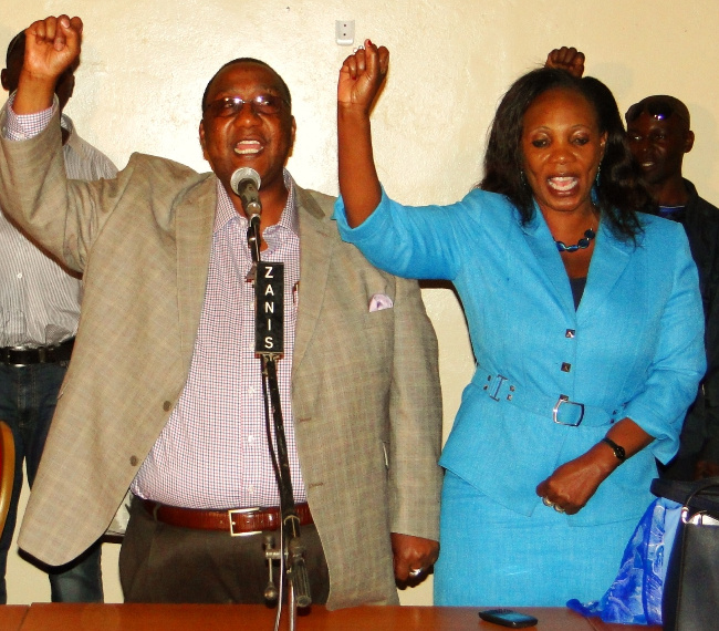 KASAMA Central Member of Parliament (MP) Geoffrey Bwalya Mwamba (GBM) (left) and his wife Chama Mwamba (right) in blue when President Michael Sata was endorsed as Presidential candidate at Northern Provincial Conference hall in Kasama