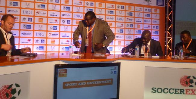 Panel discussants from L-R: Moderator, Director Magnetic Marins Roberts, Zambia's sports minister Mr Chishimba Kambwili, Nigeria's sport minister Mr Mallam Bolazi Abdullahi and Ghana's sports minister Mr Elvis Afriyie-Ankrah