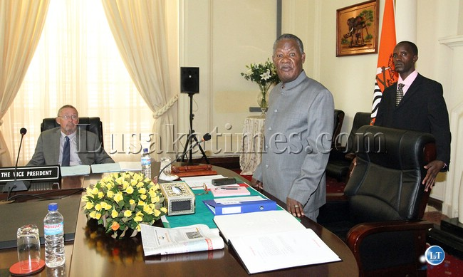 President Sata addressing a Cabinet meeting