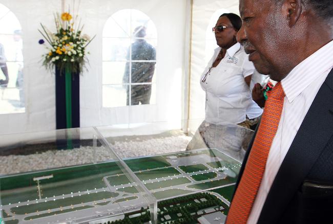 FILE: President Sata views the New Terminal Model of KK international airport