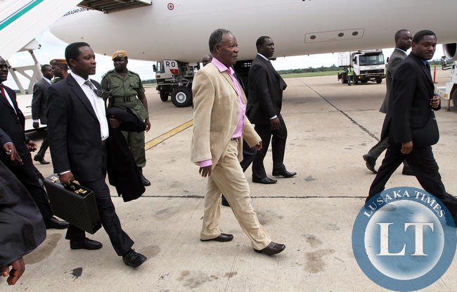President Sata arrives at Kenneth Kaunda international airport