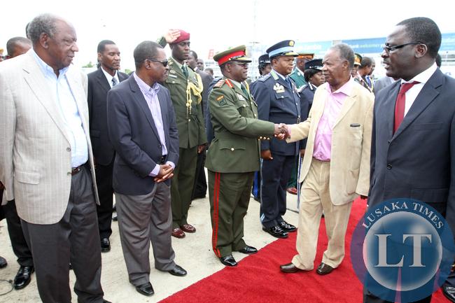 President Sata greets Army Commander Miyovu