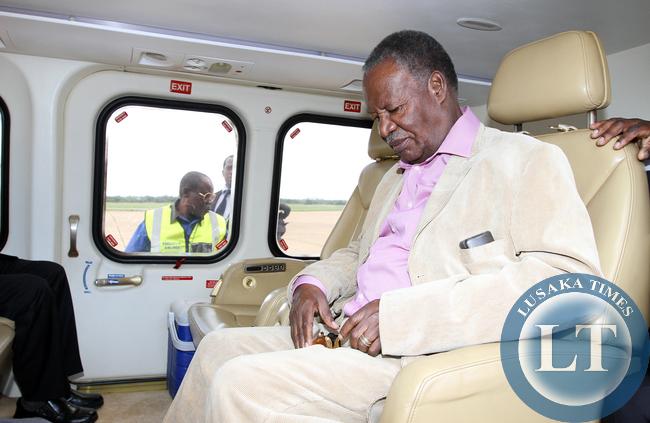 President Sata in the presidential chopper