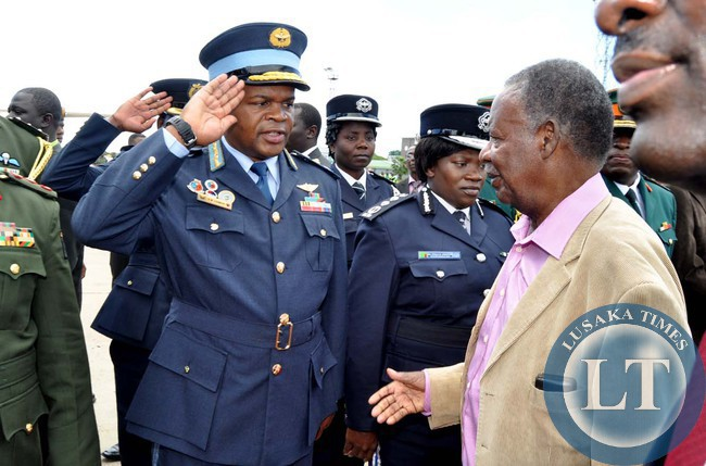 ZAF Commander Lt Gen Chimese salutes President Sata when he arrived  at Kenneth Kaunda International Airport