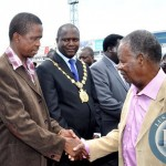 President Sata greets Defence minister Edgar Lungu
