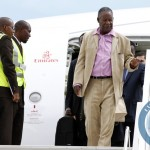 President Sata disembarks from an Emirates plane at the Kenneth Kaunda international airport