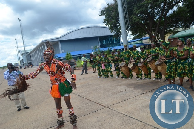 Livingstone based Zambian National Dance Troupe entertaining guests at Harry Mwaanga Nkumbula International Airport in Livingstone during the inaugural launch of Mahogany Airline flights into the tourist capital.