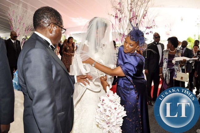 Zimbabwean President Robert Mugabe And First Lady Grace During The Wedding Ceremony Of Their Daughter