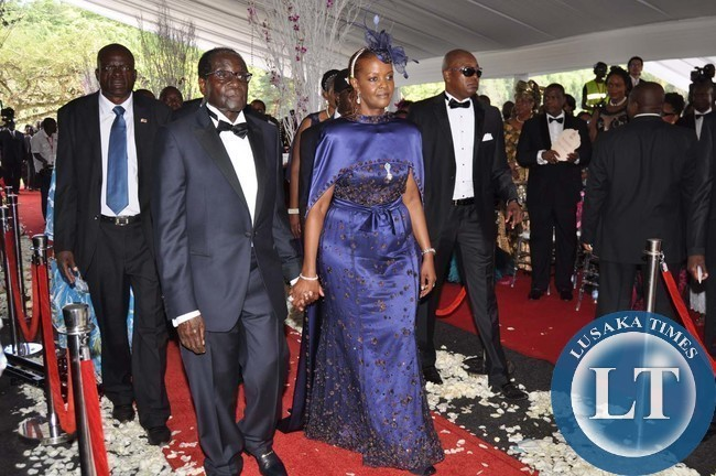 Zimbabwean President Robert Mugabe And First Lady Grace Arrives During The Wedding Ceremony Of Their