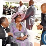 President Sata and  First Lady Dr Christine Kaseba speaks with former Botswana president  Sir Ketumile Masire  during the wedding ceremony of Bona Mugabe (second from right), Daughter to Robert Mugabe , President of the Republic of Zimbabwe and her husband Simba  in Harare, Zimbabwe on March 1,2014 -Picture by THOMAS NSAMA