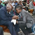 FILE: First Republican President Kenneth Kaunda n Party leader Cosmo Mumba at Cathedral of the Holy Cross in Lusaka