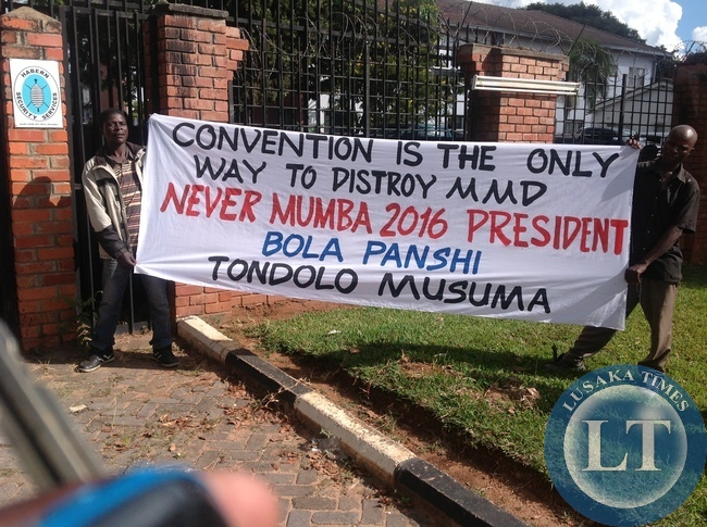 MMD youths display a message aganist holding the convention
