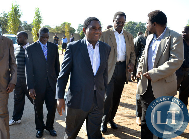 Opposition UPND leader Hakainde Hichilema arrives to attend a court case at the magistrate's court complex in Lusaka