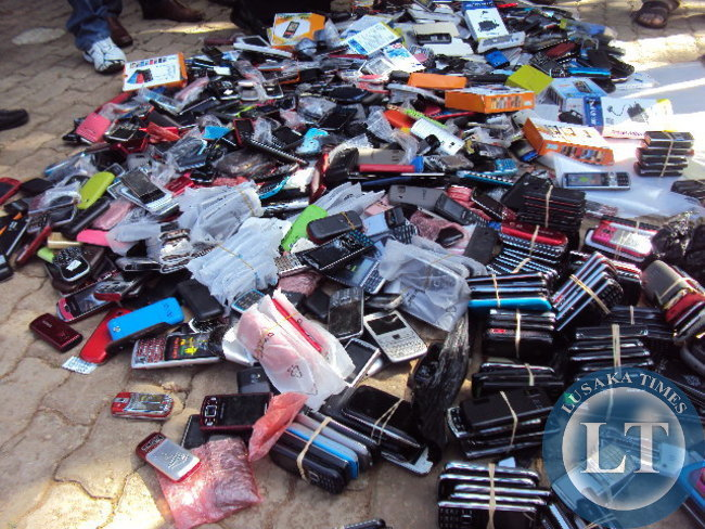 "Counterfeit Samsung branded phones valued at K867,000 intercepted in a joint operation of the Zambia Police service and the Cycorps Zambia Limited being displayed at the freedom stature yesterday during the World Intellectual Property day held at the Freedom statue under the theme ""MOVIES A GLOBAL PASSION """